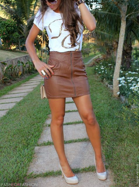 Brown leather skirt -- a little too short. longer for my personal ...