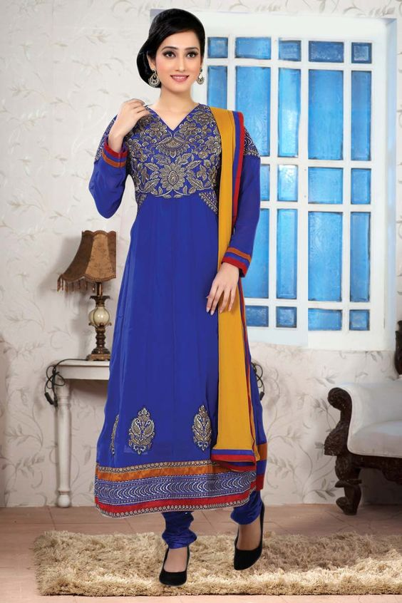 Blue Georgette Designer Suit