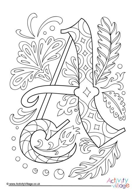 Illuminated Letter A Colouring Page Coloring Letters Letter A Coloring Pages Coloring Pages