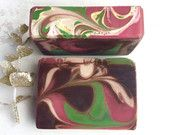 Peppermint Hot Cocoa Holiday Soap Bar -  Cool Peppermint, Creamy Chocolate, Dark Cocoa - Natural Cold Process Soap with Shea and Avocado Oil