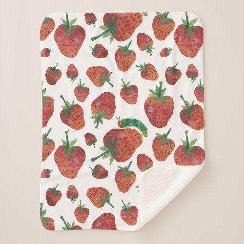 Eric Carle Caterpillar And Strawberry Pattern Sherpa Blanket Zazzle Com Sherpa Blanket Eric Carle Pattern