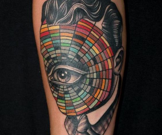 surreal portrait tattoo by Pietro Sedda