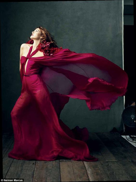 Fall muse: A striking, red-haired Ms Barrymore shines in Gucci on the Norman Jean Roy shoot