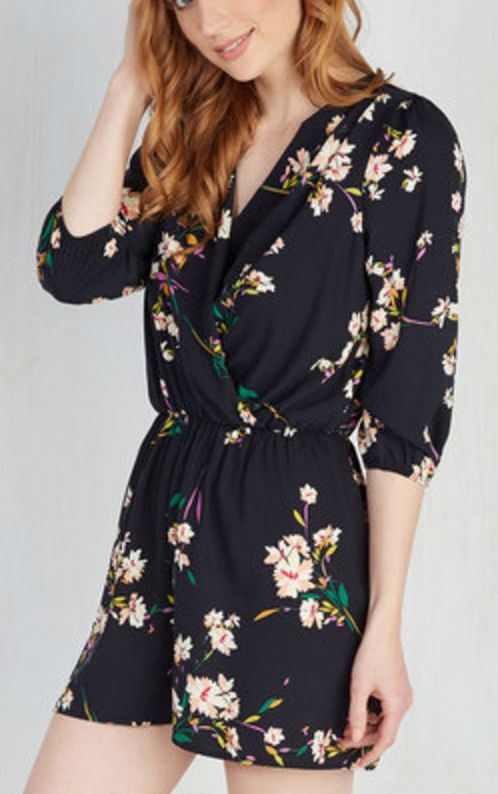Black Floral Long-Sleeve Surplice Romper