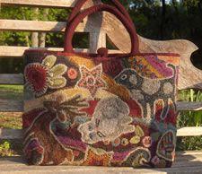 Hooked rug tote bag