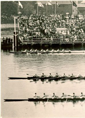 'The Boys in the Boat'  The UW crew team (far shell) winning the 1936 Olympics in Berlin.