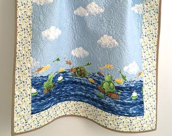Baby Quilt Featuring Ocean Creatures by KimsQuiltingStudio on Etsy