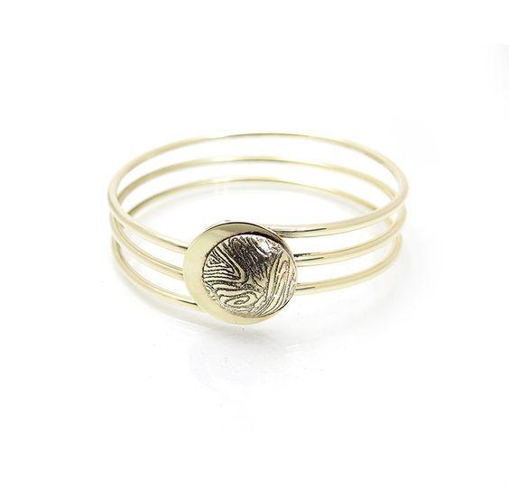 Eclipse Bangle Bracelet - Gold Wire Bangle - Contemporary Gold Bangle Bracelet - Faux Gold Bangle - Moon Bracelet - Lunar Jewelry by leanderdambrosia on Etsy