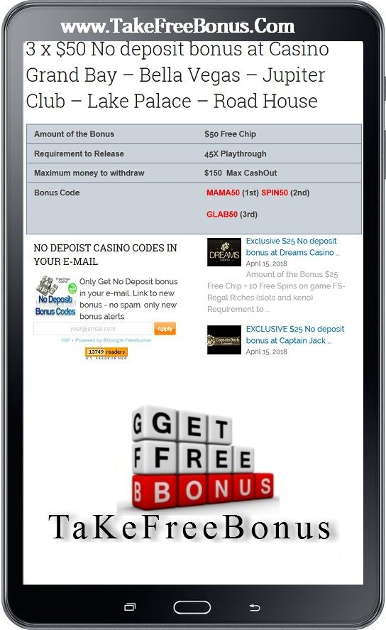 3 X 50 No Deposit Bonus At Casino Grand Bay Bella Vegas
