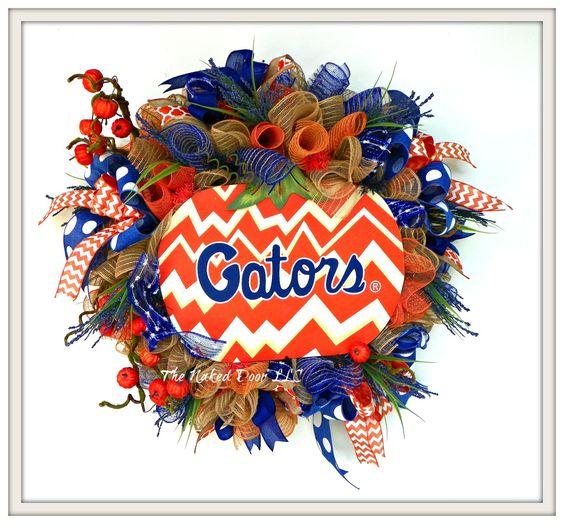 Fall Gator Wreath - Gator Wreath - FL Gators Wreath - Univeristy of FL Wreath…