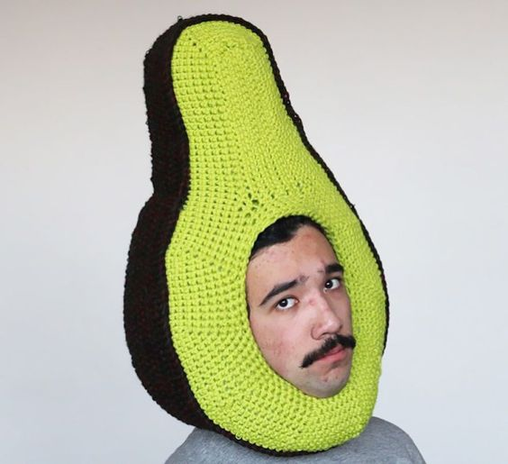 Hilarious Guy Who Crochets Food Hats to Make New Friends, http://itcolossal.com/food-hats/