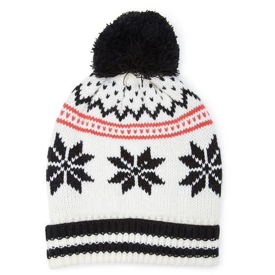 Forever 21 Fair Isle Pompom Beanie (30 BRL) ❤ liked on Polyvore featuring accessories, hats, acrylic hat, forever 21 hats, foldable hat, pompom hat and acrylic beanie