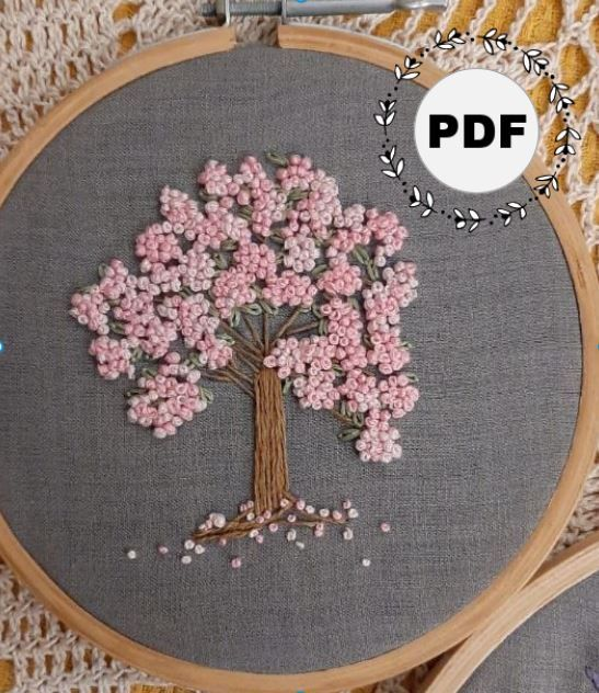Cherry Blossom Tree Embroidery Pdf Pattern Hoops And Diy Kits In 2021 Cherry Blossom Tree Sewing Embroidery Designs Blossom Trees