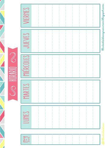 Pack Descargable Para Organizar El Curso Escolar Horario Escolar Organizador De Horarios Plantilla Horario Escolar