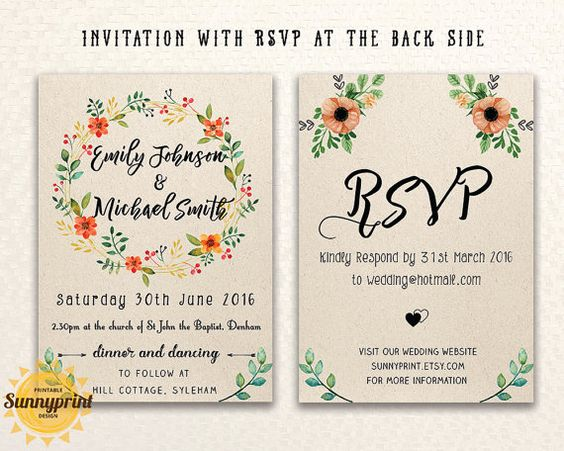 Printable wedding invitation template download by Sunnyprint M+J - invites template