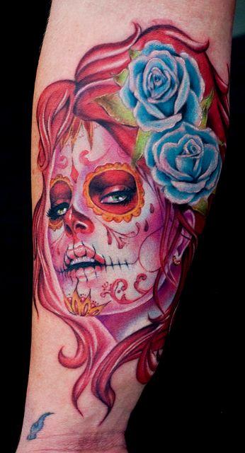 Full color sugar skull tattoo
