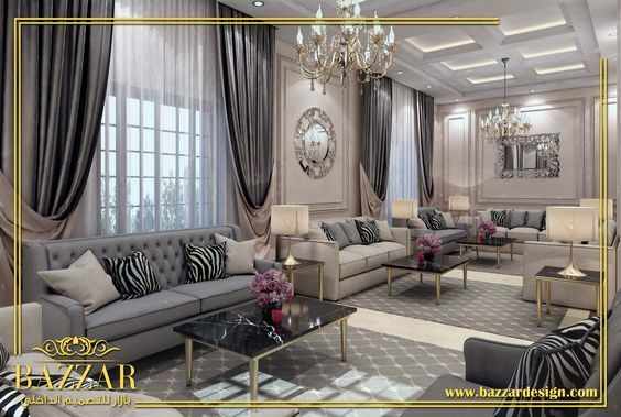 مجلس رجال نيوكلاسيك بدرجات اللون الابيض والرمادي تم اضافه بعض الاكسسوارات لتزيين المجلس و اضافه Big Living Room Design Home Design Living Room Home Room Design