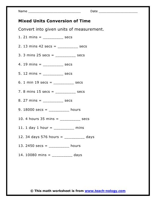 Mixed Unit Conversion Worksheet3 Homeschooling Math
