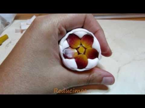 Murrina pensamiento en arcilla polimérica - Polymer clay pansy cane - YouTube