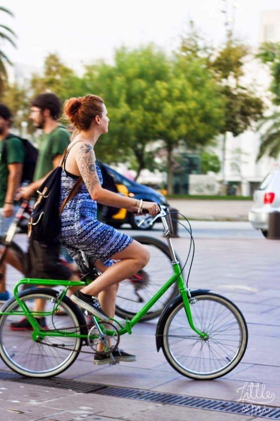 girl on the green bike - Barcelona