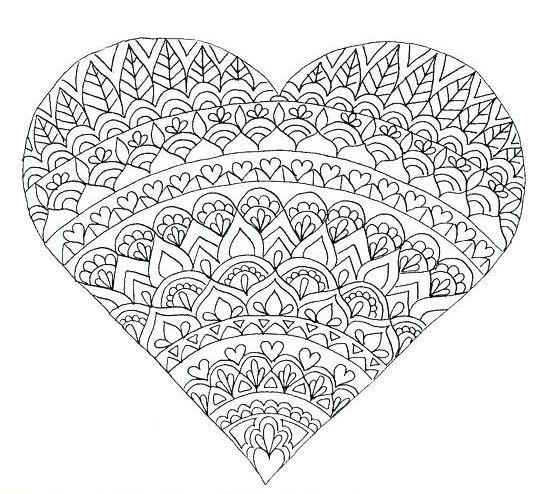 heart shape mandala coloring pages