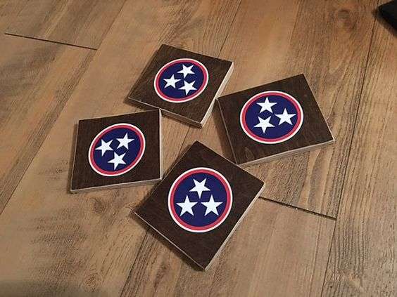 TENNESSEE state flag drink coasters by ForWoodenSake on Etsy