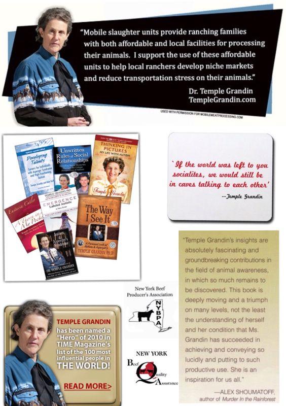 Temple Grandin Filme, livros, biografia, pesquisa, publicações, zoologia, autismo, fazenda, máquina do abraço, citações, ...