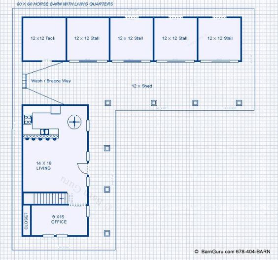 New shed row horse barn with living quarters the for Barn floor plans with living quarters