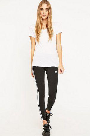 adidas Originals – Leggings in Schwarz mit drei Streifen – Damen 34