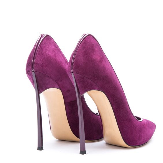 Deep Purple Suede Ultra-thin Metal Heels Pointed High Heel Shoes ...