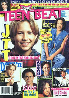 Teen Beat!!  I literally remember this issue -- several of it's pages were plastered on my wall.  JTT, Devon Sawa, Jonathan Brandis, & Rider Strong -- my loves.  LOL: