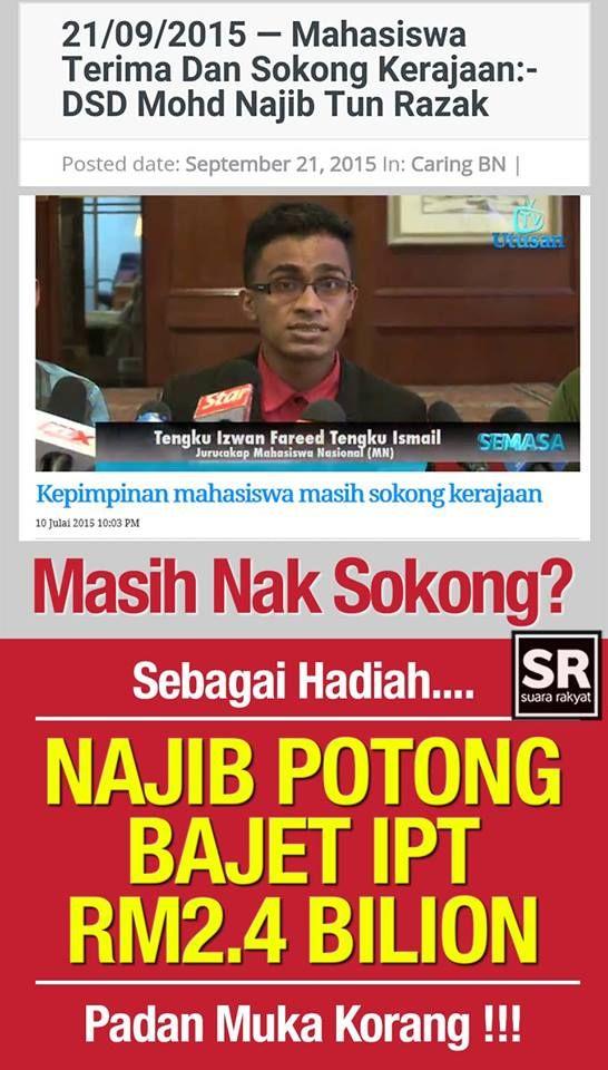 Universiti di Malaysia terpaksa cari alternatif lain selepas dana pendidikan dipotong Najib Razak