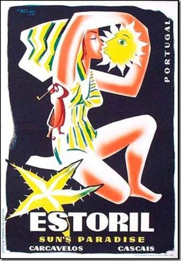Estoril Sun's Paradise - 1952 Portugal - Vintage travel beach poster #essenzadiriviera  www.varaldocosmetica.it