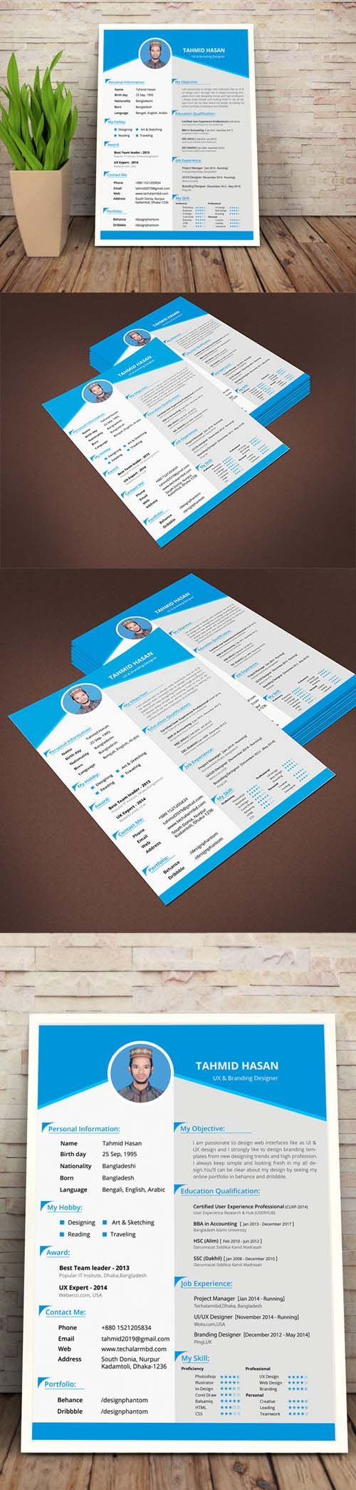 Personal Resume Template PSD » DenGFX.Com – Graphic For Life – Premium and Free Stuff For Creative Design