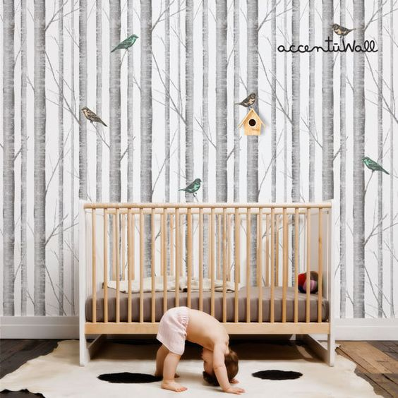 self-adhesive  Birch Tree Peel & Stick Fabric Wallpaper by AccentuWall on Etsy, $40.00
