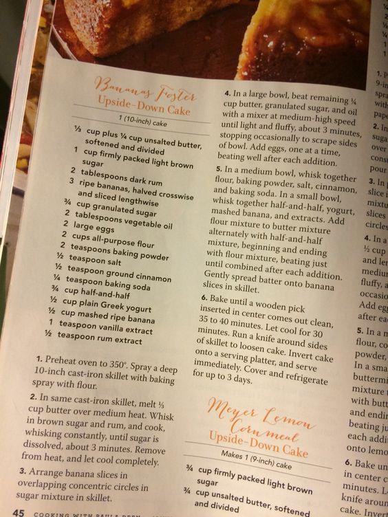 Paula deen upside down cake recipe