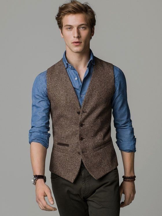 24 Beste Business Casual Outfits Beste Business Casual Outfits Herrenmode Vest Outfits Men Stylish Mens Outfits Brown Vest Men