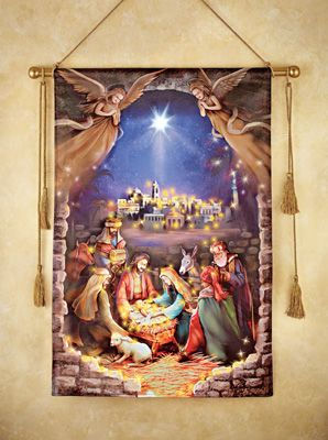Lighted Nativity Scene Hanging Canvas Indoor Christmas