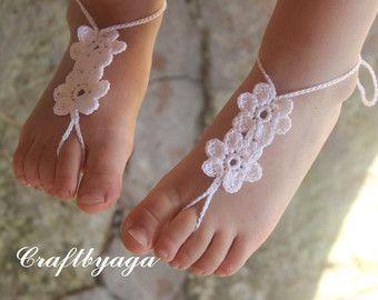Crochet bebé descalzo sandalias accesorios bebé pie por barmine