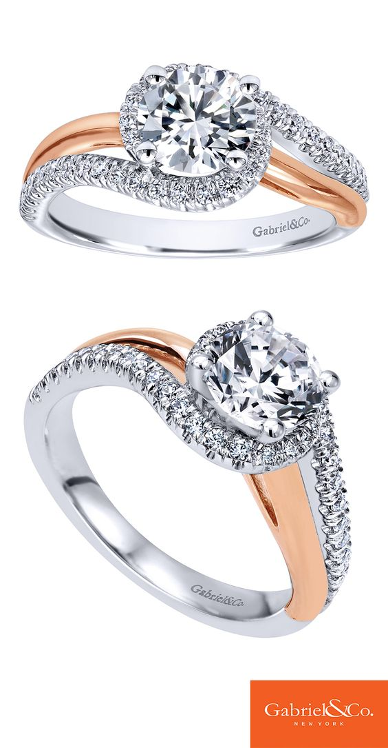 A touch of Pink Gold to tie together this 14k White Gold Diamond Bypass Engagement Ring. Discover your perfect engagement ring at Gabriel & Co.