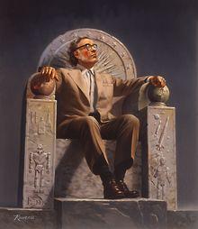 Isaac Asimov, vu par Rowena Morrill, sur un trône orné des symboles de son œuvre littéraire