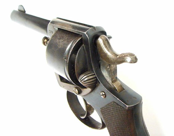 """Belgian Large Bore (approximately .45) caliber revolver. Barrel length 4"""" and overall length."""