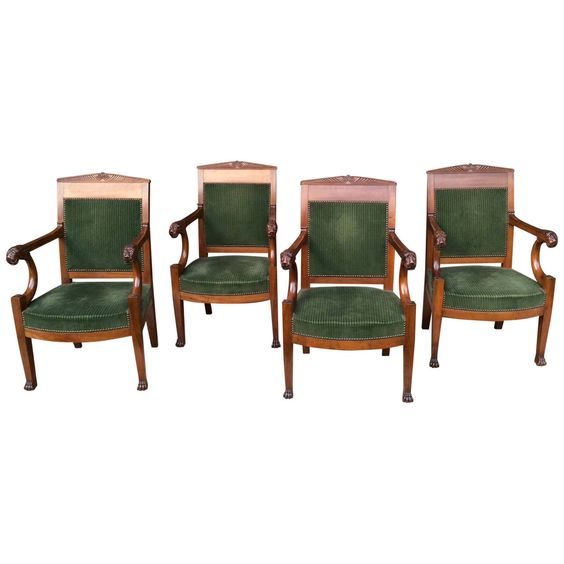 Empire Series of Four Armchairs Attributed to Jacob Freres | From a unique collection of antique and modern armchairs at https://www.1stdibs.com/furniture/seating/armchairs/