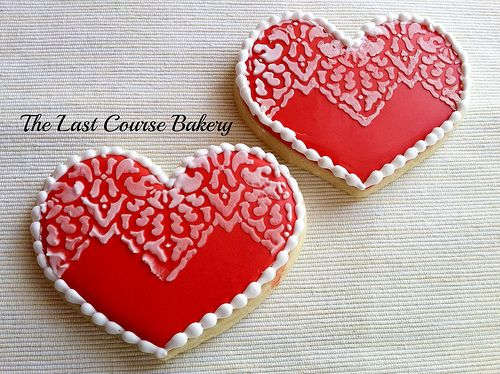 Valentin Stencil Heart cookies