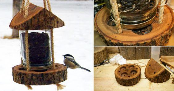 C mo hacer un comedero para aves con un tronco y un frasco - Como hacer un jardin bonito y barato ...