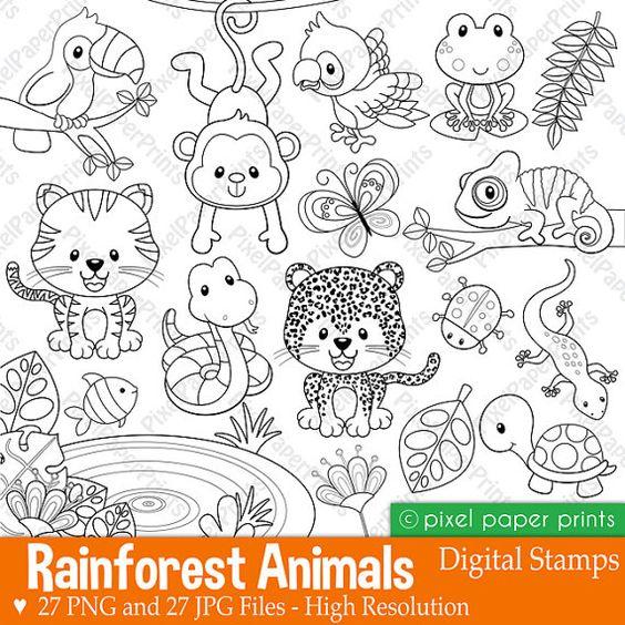 Regenwald-Tiere digitalen Stempel Clipart von pixelpaperprints