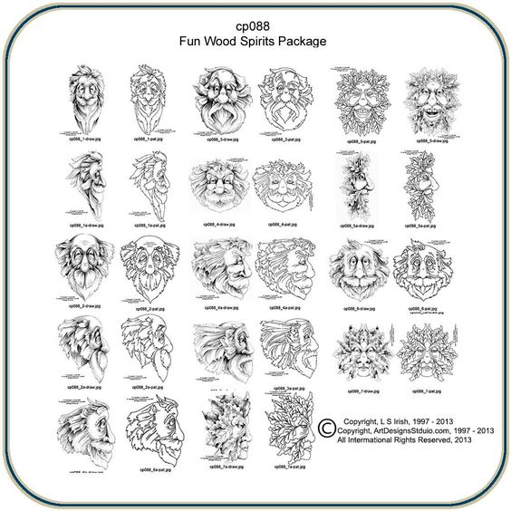 Fun wood spirits and greenmen pattern package by lora s