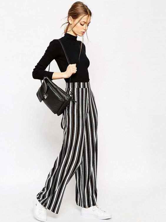 ASOS Jersey Wide Leg Trousers in Vertical Mono Stripe