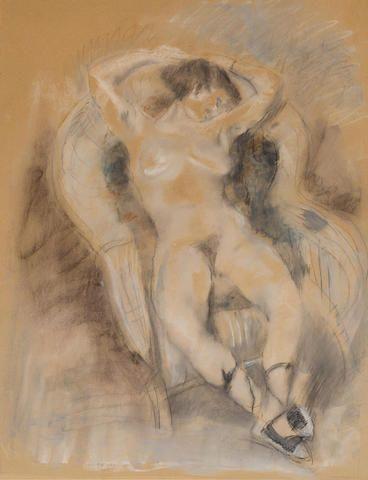 JULES PASCIN (1885-1930) Nu au fauteuil 25 3/8 x 19 3/4 in (64.4 x 49.9 cm) (Drawn in Paris circa 1927-1929)