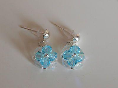 boucles d'oreilles fleurs toupies cristal swarovski bleu €4.50